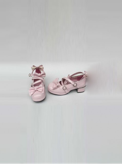 Pink Mirror Face Bowknot Lolita High Heel Shoes