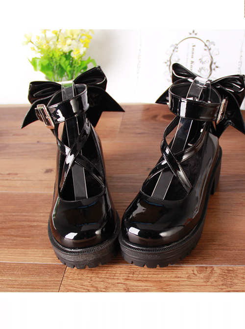 Black Patent Leather Cute Bowknot Lolita Round-toe High Heel Shoes- 5cm