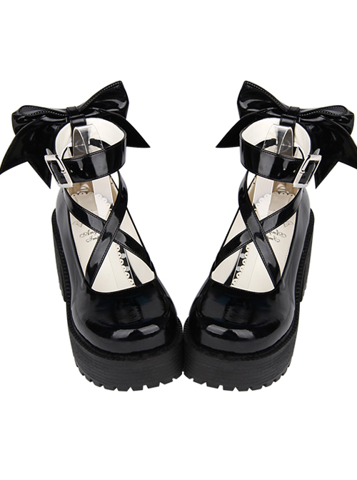 Black Patent Leather Cute Bowknot Lolita Round-toe High Heel Shoes- 8cm