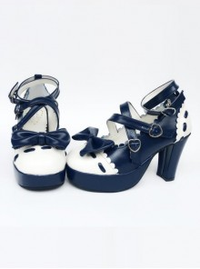 Ultramarine Bowknot Wavy Lace Lolita High Heel Shoes