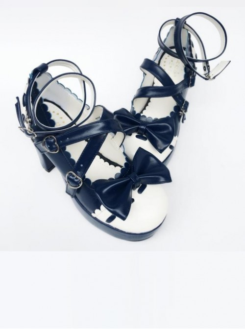 Ultramarine Bowknot Wavy Lace Lolita High Heel Shoes