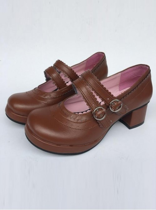 Concise College Style Light Coffee Color Lolita High Heel Shoes