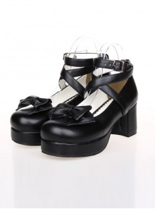 Bowknot Princess Shoes Lolita Round-toe High Heel Shoes