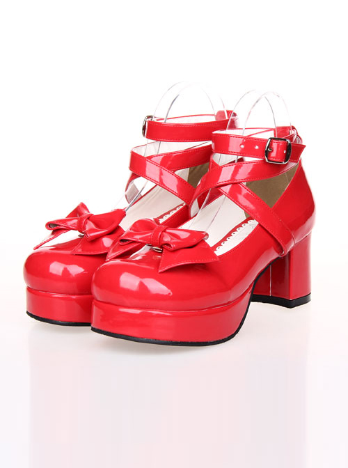 Bowknot Princess Shoes Lolita Round-toe High Heel Shoes