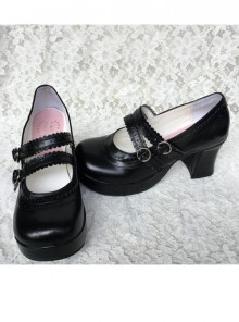 Fashion Concise College Style Black Gothic Lolita High Heel Shoes