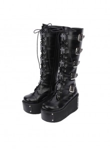 Black Punk Crucifix Adornment Lolita Super High Platform Boots