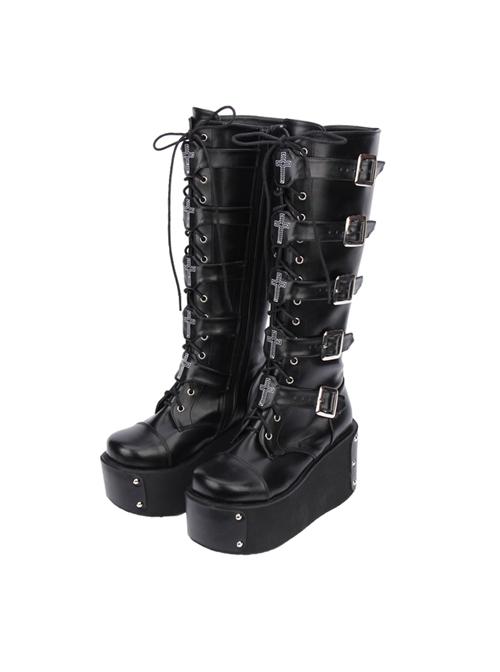 Black Punk Crucifix Adornment Lolita Super High Platform Boots