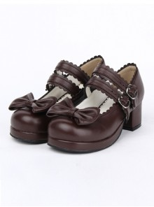 Double Buckle Bowknot Lolita Shoes