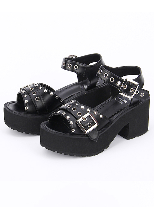 Punk Rivet Decoration Platform High Heel Sandals