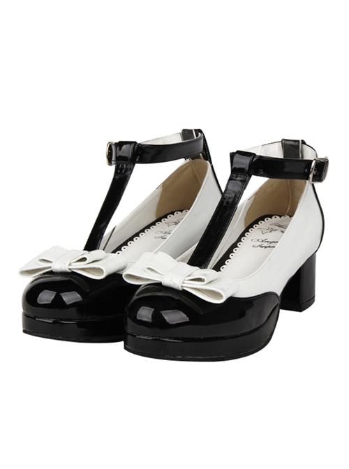 T-shaped Buckles Bowknot Lolita High Heel Shoes- 4.5cm