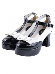 T-shaped Buckles Bowknot Lolita High Heel Shoes- 7.5cm