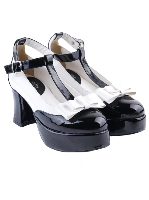 T-shaped Buckles Bowknot Lolita High Heel Shoes- 7.5cm