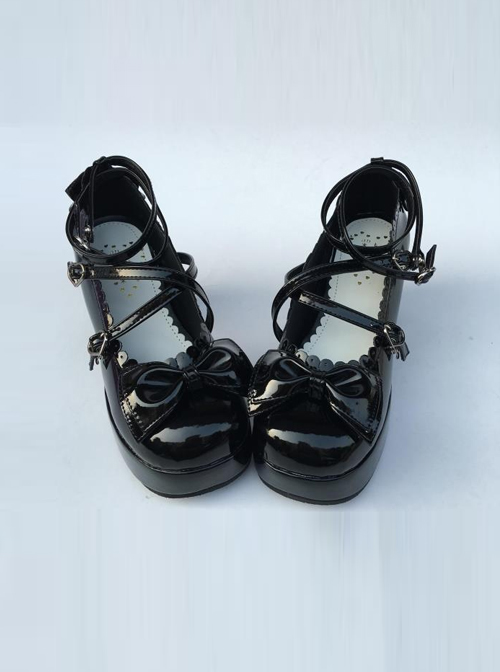 The Tea Party Black Bowknot Mirror Face Lolita High Heel Shoes