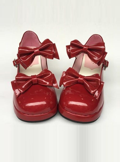 Wine Red Mirror Face Concise Bowknot Lolita High Heel Shoes