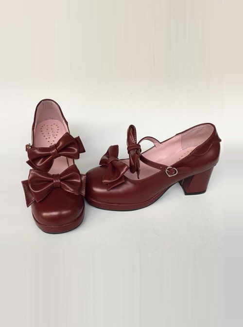 Wine Red Matte Concise Bowknot Lolita High Heel Shoes