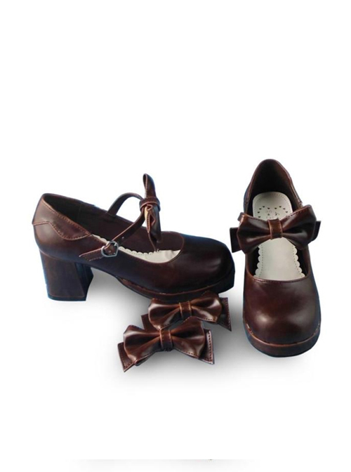 Coffee Color Mirror Face Concise Bowknot Lolita High Heel Shoes