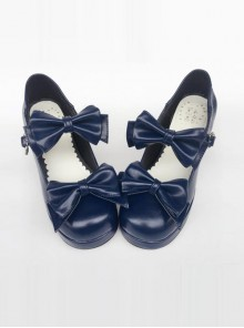 Navy Blue Matte Concise Bowknot Lolita High Heel Shoes