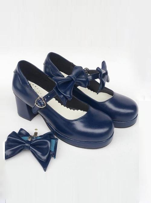 Navy Blue Matte Concise Bowknot Lolita High Heel Shoes