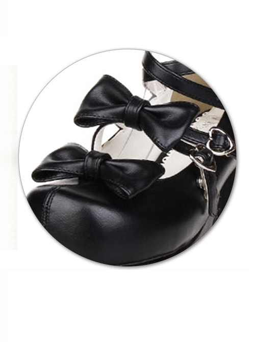 Pure Color Bowknot Thick Sole High Heel Shoes