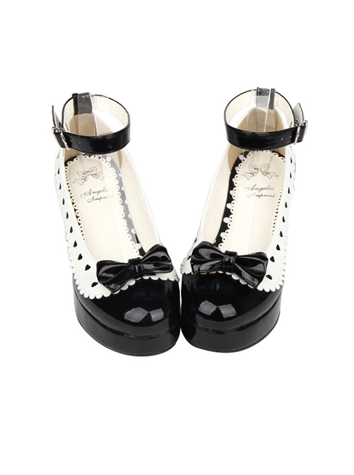 Hollow Out Heart Shape White Lace Bowknot Sweet Lolita Black High Heel Shoes