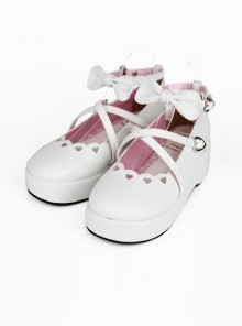 White Bowknot Round-toe Lolita High Heel Shoes