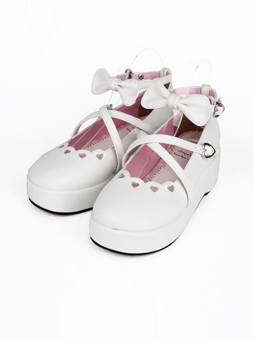 White Bowknot Round-toe Lolita High Heel Shoes