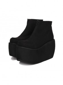 Pure Black Front Zipper Punk Lolita Platform Short Boots