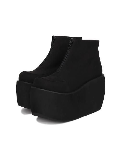 1c2ba6c1440 Pure Black Front Zipper Punk Lolita Platform Short Boots