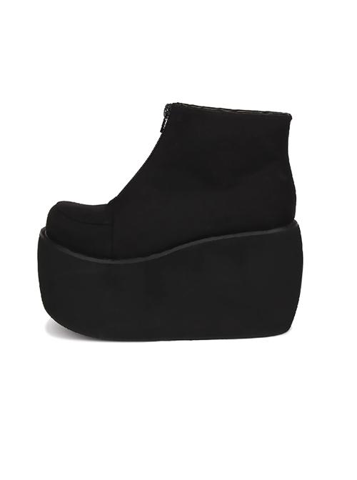 Pure Black Front Zipper Punk Lolita Platform Short Boots
