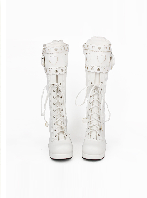 Sweet Lace Bowknot Heart-shaped Round-toe Lolita High Boots