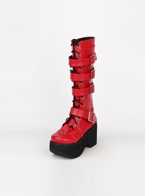 Punk Gothic Rivets Lace-up High Boots