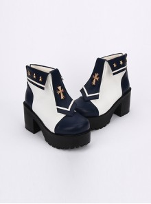 Navy Style Cross Decoration High Heel Ankle Boots