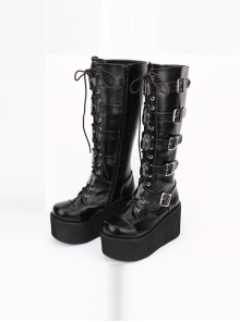 Punk Black Cross Ornament Lace-up Lolita High Boots