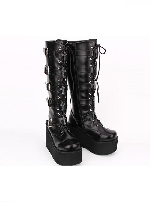 Punk Black Cross Ornament Lace-up Lolita High Boots