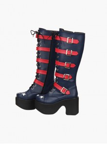Punk Stars Pattern Red Buckles Dark Blue Lolita High Boots