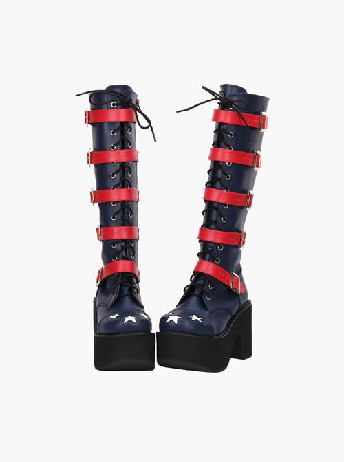 Punk Stars Pattern Red Buckles Dark Blue Lolita High Boots