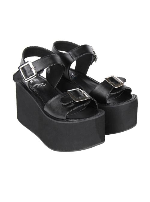 Black And White Sweet Lolita Platform Sandals