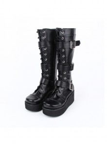 Punk Black Belt Buckle Lace-up Lolita Middle Barrel Boots