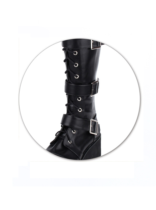 Punk Black Belt Buckle Lace-up Lolita Middle Barrel Boots