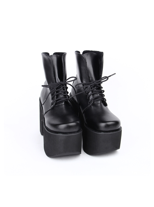 Punk Black Thick Bottom Platform Heel Lolita Boots