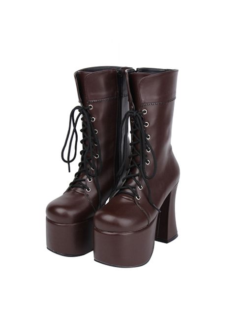 Brown Round-toe Lace-up Thick Bottom Lolita Middle Barrel Boots