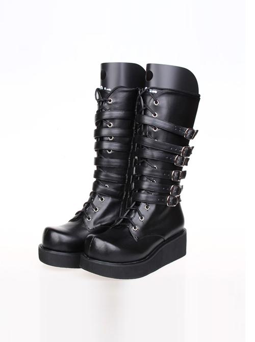 Punk Black Leather Belt Buckle Lace-up Lolita High Boots