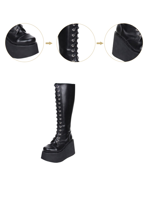 Concise Lace-up Black Lolita High Boots