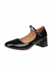 Retro Square-toe Lolita Mid Heel Shoes