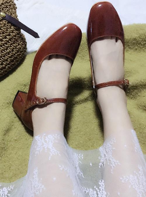 Retro Square-toe Lolita Mid Heel Shoes