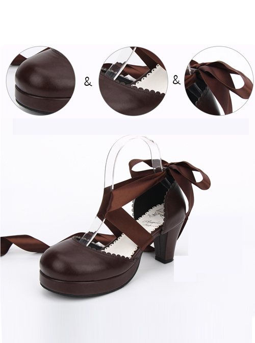 Lace Design Lolita Small Round Heel Round-toe High Heel Shoes