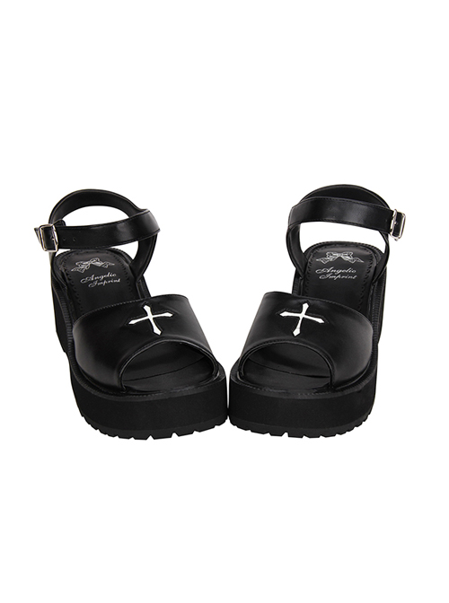 Crucifix Black Gothic Lolita Platform Sandals