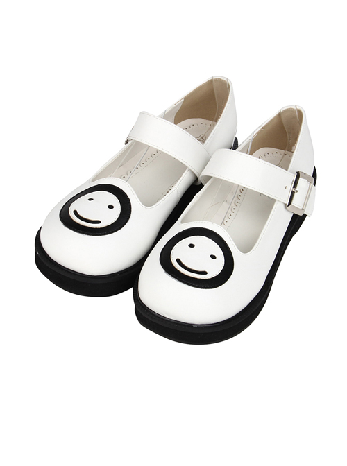 Smiling Face Pattern White Buckle Band Lolita Flat Shoes