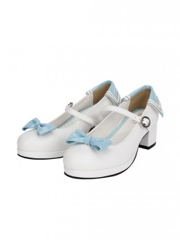 Navy Style Light Blue And Dark Blue Lolita Round-toe High Heel Shoes