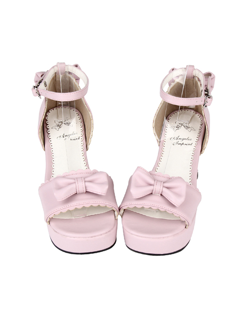 Pink Concise Bowknot Sweet Lolita High Heel Sandals